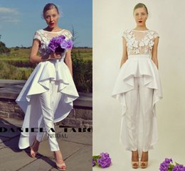 Wholesale Drop Garden - 3D Floral Stain Country Jumpsuit Wedding Dresses 2018 Jewel Cap Sleeve Ruffles Peplum Lace Outdoor Garden Bridal Pant Dress with Train