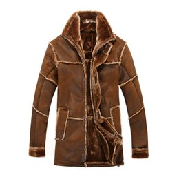 Wholesale mens pilot jacket fur - Vintage Thicken Mens Leather Jacket Winter Faux Fur Lined Pilot Suede Long Trench Coat Bamber Male Overcoats Double Faced Fur