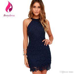 0e64297acd 2019 vestido azul marinho atacado Venda por atacado- Berydress Womens Azul  Marinho Robe De Soirée