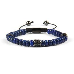 plaques plates noires en gros Promotion Nouveaux hommes bracelet en gros 10pcs / lot couleurs naturelles perles plates bracelet en macramé avec noir Cz perles cylindriques bracelets pour cadeau