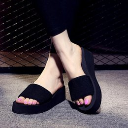 Wholesale Wholesale Platform High Heels - 2017 Summer Woman Shoes Platform bath slippers Wedge Beach Flip Flops High Heel Slippers For Women Brand Black EVA Ladies Shoes