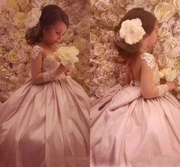 Wholesale Easter Shirt For Child - 2018 Vintage Flower Girls Dresses For Weddings Jewel Neck Long Sleeves Lace Appliques Party Birthday Children Communion Girl Pageant Gowns