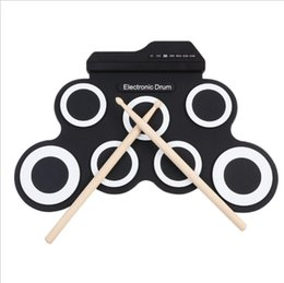 Wholesale Pad Jacks - Rechargeable Electronic Roll-Up Drum Kit Foldable Drum With DrumSticks 7 Drum Pads Set USB MIDI With Headphone Jack For Kids Retail Package