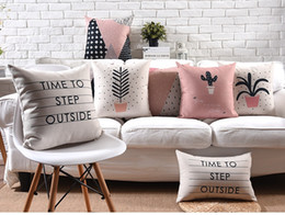 Wholesale Step Covers - Geometric Cross Cushion Cover Mountain Cactus Pillow Covers Time to Step Outside Thick Linen Cotton Home Sofa Decoration