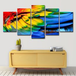 feathers oil painting Coupons - Modern Canvas Wall Art Painting Modular Picture Home Decor 5 Panel Colored Feathers Landscape HD Printed Oil Poster