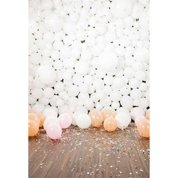 Wholesale Indoor Photography Backdrops - White Balloons Baby Kids Birthday Party Backdrop for Photography Printed Flowers Petals Indoor Children Photo Shoot Backgrounds Wood Floor