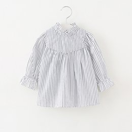 Wholesale 3t Girls Long Sleeve Shirts - 2018INS spring NEW arrival Girls Kids stripped print shirt long Sleeve stand collar shirt kids causal 100% cotton kids causal shirt