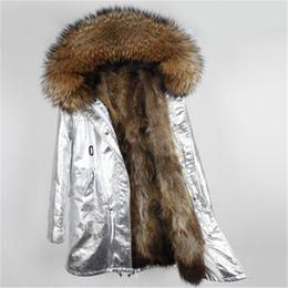 2019 mulher parka de prata Forro de pele natural parka Prata pu casaco de pele real casaco de inverno mulheres jaqueta de guaxinim gola quente quente grosso parkas mulher parka de prata barato