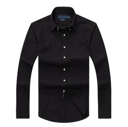 Wholesale long dresses small - Men's slim fit polo shirts with long sleeves small horse embroidery luxury brand dress shirt polo business long sleeve cotton social shirt