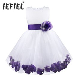 Wholesale Toddler Natural Pageant Dresses - 2017 Kids Infant Girls Flower Petals Dress Children Bridesmaid Toddler Elegant Dress Pageant Vestido Infantil Formal Party Dress