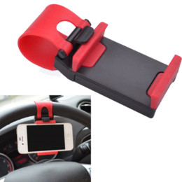 Wholesale Car Phone Holder Galaxy S4 - Universal Car Steering Wheel Mobile Phone Holder Bracket for iPhone 4 4S 5 6 6s Samsung Galaxy S4 S5 S6 Note 3