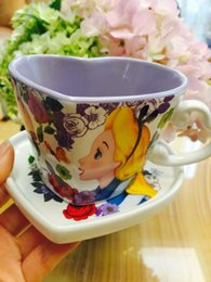 Wholesale Birthday Girl Cup - Cute Alice In Wonderland Cartoon Ceremic Coffee Mug Cup With Snack Plate Girl Women Birthday Gift Collection