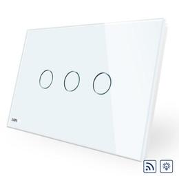Interrupteur de gradateur de lumière blanche en Ligne-Norme AU / US de haute qualité, commutateur sans fil VL-C903DR-11, écran tactile en verre blanc, gradateur et interrupteur d'éclairage mural à distance
