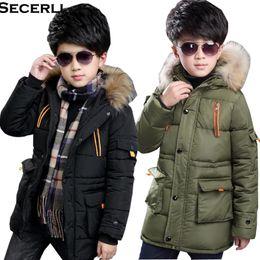 d427859b3ef New Winter Boys Parkas Cotton Padded Warm Kids Boy Winter Jacket 4 6 8 10  12 14 15Years Fur Hooded Children Warm Coat Outerwear