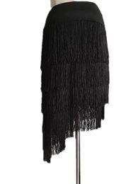 Группы искусство онлайн-Female Adult Practice Latin Dance Skirt New Professional Tassel Half Skirt Latin Group Art Examination Training Half Skirts