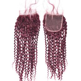 2019 pedaços de cabelo encaracolado vermelho # 99J Vinho Tinto 4x4 Frente Lace Encerramento Nós descorados Kinky Curly Virgin brasileira Borgonha Cabelo Humano Lace Encerramento peça com o cabelo do bebê pedaços de cabelo encaracolado vermelho barato