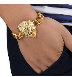 brazaletes de oro baratos 18k pulseras Rebajas Hip-hop Star Rap Style Fashion Street Hombres Mujeres Oro Plateado Joyería de cadena de acero inoxidable Pulseras Lion Hean