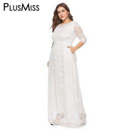 più abiti neri Sconti PlusMiss Plus Size 5XL XXXXL XXXL Nero Rosso Bianco Elegante Piano Lunghezza Abiti da sera Big Size Vintage Maxi Long Dress Robe Femme