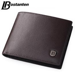 Wholesale Male Coffee - Bostanten Coffee Men Wallets Famous Brand Genuine Leather Male Money Purses New Classic Soild Pattern Designer Soft ID Card Case