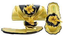 b robes sac à main Promotion Vente chaude or talon bas 0.5CM sandales avec décoration florale chaussures africaines correspondent sac à main ensemble pour robe MM1053