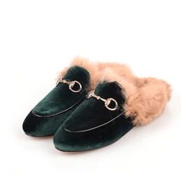 495d3396e0b China 33-43 big size!Ladies luxury fur mule slippers leather flat Suede  shoes