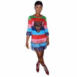 Wholesale ladies club dresses - Striped Print tiger Sequined Tassel 2018 Summer Style Dress Cool women Lady Fashion sexy Casual Bandage mini Dresses