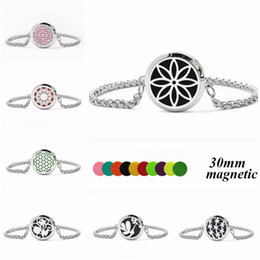 Wholesale Options Pads - More Options 30mm Magnetic Stainless Steel Bracelet Essential Oil Bracelet Aroma Perfume Diffuser Locket 10pcs Pads