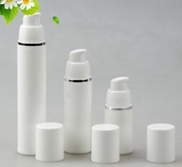 Wholesale White Airless - 15ml 30ml 50ml PP Airless Bottles White Airless Vacuum Pump Lotion Bottle with Silver Line Cosmetic Packaging