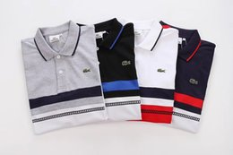 Diseño de la camiseta del polo online-2018 Luxury Brand Crocodile Design Summer Polos para hombre Camisetas W051C Francia Moda casual estilo de algodón de solapa de manga corta camisetas Tops clásicos