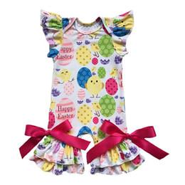 vestiti di pollo Sconti Pasqua Neonate Abbigliamento Ruffle Angela Sleeve Bambini Sleep Suit Cute Chicken Stampa Baby Girls Pagliaccetto con fiocco