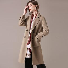Abrigo de lana largo de lana de estilo británico de las mujeres bolsillos  chaqueta de cazadora de invierno de doble botonadura elegante traje de mujer  ... 1fe947a6c889