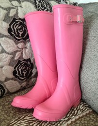 Wholesale Tall Boots For Women - 18 color H brand women s tall Knee-high Snow rainboot rain boots low heels knee high waterproof welly boots rainboots water shoes for adult