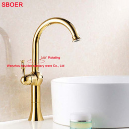 Wholesale Polished Gold Faucets - Unique Luxury Charming Brass Single Handle Kitchen Faucet with High Arc Swivel Spout Mixer, Gold Painting Hot Cold Water Tap