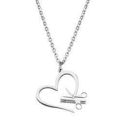 Wholesale Scissor Comb Jewelry - Scissors Comb Pendant Necklace Heart-shaped Stainless Steel Silver Gold Lover Link Chain For Women Gift Charm Jewelry Wholesale