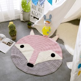 Wholesale Handmade Bear - 80x80cm Round Hand-knitted Baby Blanket animals play mats children knitting blankets mats INS Nordic style hot fox bear models