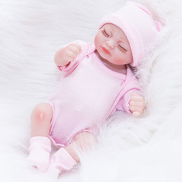 Wholesale wholesale reborn doll - Reborn Newborn Baby Realike Doll Handmade Lifelike Silicone Vinyl Weighted Alive Doll for Toddler Gifts 10 inches Dolls Kids Playmate Gifts