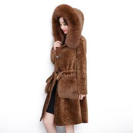 Wholesale Sheepskin Fox Fur Coat - Winter New ladies sheepskin coat Slim in the long section of fox fur large pocket hooded ladies fur coat Winter