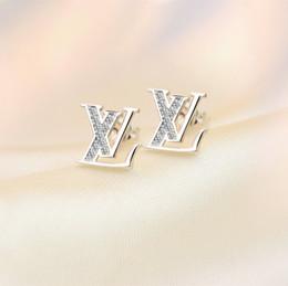 Wholesale Copper Rhinestones - Classic Women Earrings 18K White Gold Plated AAA CZ Famous Brand Earrings Studs for Girls Women Nice Gift ER-1025