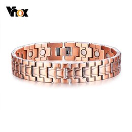 Canada Bracelets de puissance magnétique sains de Vnox Bracelet de soulagement de la douleur arthritique de cuivre rouge pur Pulsera Masculina 8.6
