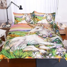 Wholesale Green King Size Quilt Sets - 3D Unicorn Doona Duvet Quilt Cover Set Single Queen King Size Animal Bed Covers New Free Shipping AU SIZE