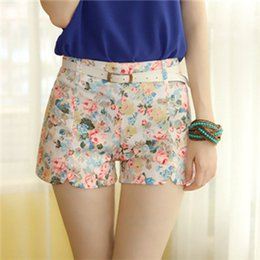 Wholesale Girls Denim Capris - New Fashion Sexy Chiffon White Flower Women Shorts High Waist Elastic Summer Girl Cotton Shorts Free Shipping