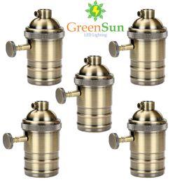 Canada GreenSun 5 Pcs Antique En Laiton E26 / E27 Lampe Socket Edison Titulaire de la Lampe Industrielle Ampoules Pendentifs Bases Légères Bouton Commutateur cheap antique brass light switches Offre