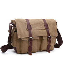 Wholesale Vintage Military School Bag - Fashion Bags Shoulder Bag Men's Vintage Canvas and Leather Satchel School Military Shoulder Bag Messenger for Notebook Laptop Bags