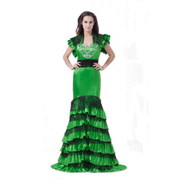 Canada 2018 nouveau style dames de satin vertes robe de bal gratuite veste conception sirène mode robe longue zippée au dos Offre