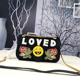 Wholesale Pearl Parts - Lady's fashion hand-held diagonal package medium velvet handbag Italy creative love pearl applique gold embroidery gold metal parts black ch