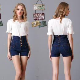 одежда для коротких джинсов Скидка 2017 summer women  clothing plus-size high waist slim button elastic denim shorts Female fashion vintage skinny short jeans
