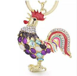 Wholesale star gift bags - beijia Pretty Chic Opals Cock Rooster Chicken Keychains Crystal Bag Pendant Key ring Key chains Gift Jewelry Llaveros K131