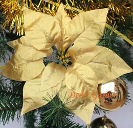 Argentina venta al por mayor 3 colores 22 CM Para la decoración de navidad flores de seda artificiales Poinsettia navidad cabezas de flores de oro plata roja cheap wholesale silk poinsettia Suministro