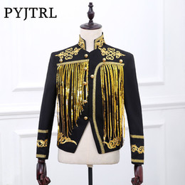 Wholesale printing color bars - PYJTRL Bar Male Singer Jacket Dj Stage Evening Show Gold Silver Sequins Embroidery Blazer Male Paillette Tassels Loose Coat
