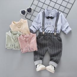 Wholesale Baby Shirt Straps - Baby boys Autumn gentleman strap outfits Infant Tie T-shirt+pant 2pcs set kids Clothing Sets toddler clothes